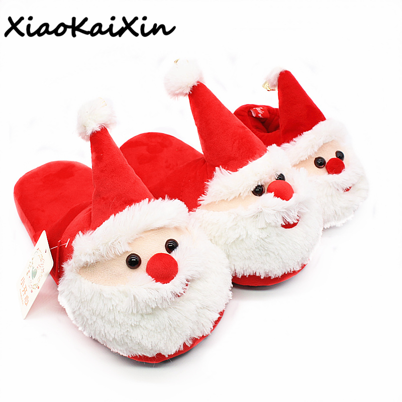 XiaoKaiXin Winter Cartoon Indoor Warm Plush Santa Slippers Women/Men/Children's Christmas Style Home Slipper Fit Christmas gifts