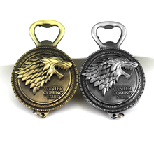 Game of Thrones Wolf Head Keychain Bottle Opener House Stark Winter Is Coming Symbol Keyring Pendant Men Accessories Gift цена