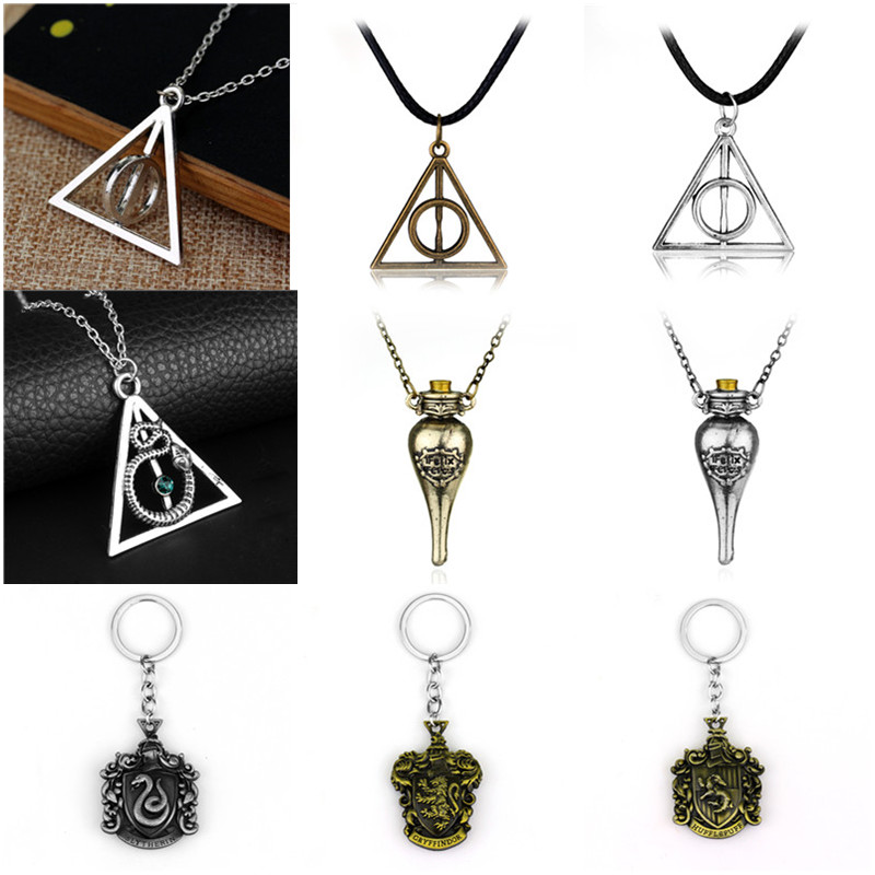 Fashion Long Necklaces Deathly Hallows Pendant Necklace Keychain Triangle Rotatable Intermediate Resurrection Stone Key Chains