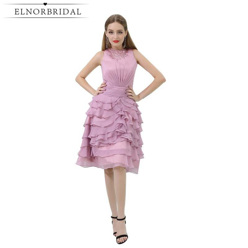 Pink Cocktail Dresses 2019 Vestido De Festa Curto De Luxo Short Prom Dress Ruffle Special Occasion Mini Party Gowns