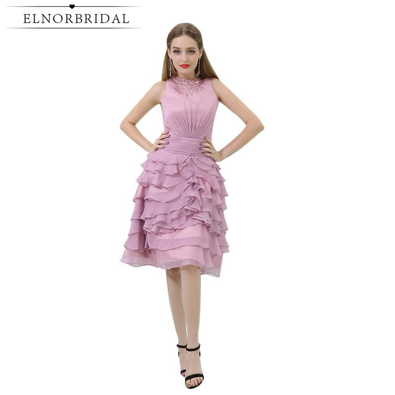 Pink   Cocktail     Dresses   2019 Vestido De Festa Curto De Luxo Short Prom   Dress   Ruffle Special Occasion Mini Party Gowns