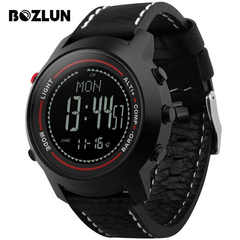 Bozlun MG03 Men Digital Wristwatches Compass Altimeter Barometer font b Leather b font Strap Fashion Outdoor