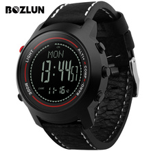 Bozlun MG03 Men Digital Wristwatches Compass Altimeter Barometer Leather Strap Fashion Outdoor Sports Watches Relogio Masculino