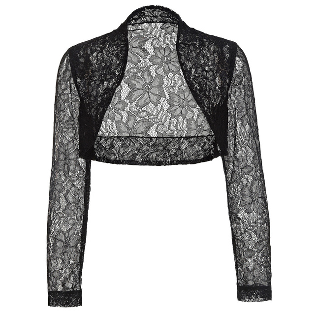 a76cfa81da493 Long Sleeve Lace Bolero Black White Evening Party Bride Boleros And Shrugs  Women Cropped Wedding Accessories Plus Size Jackets