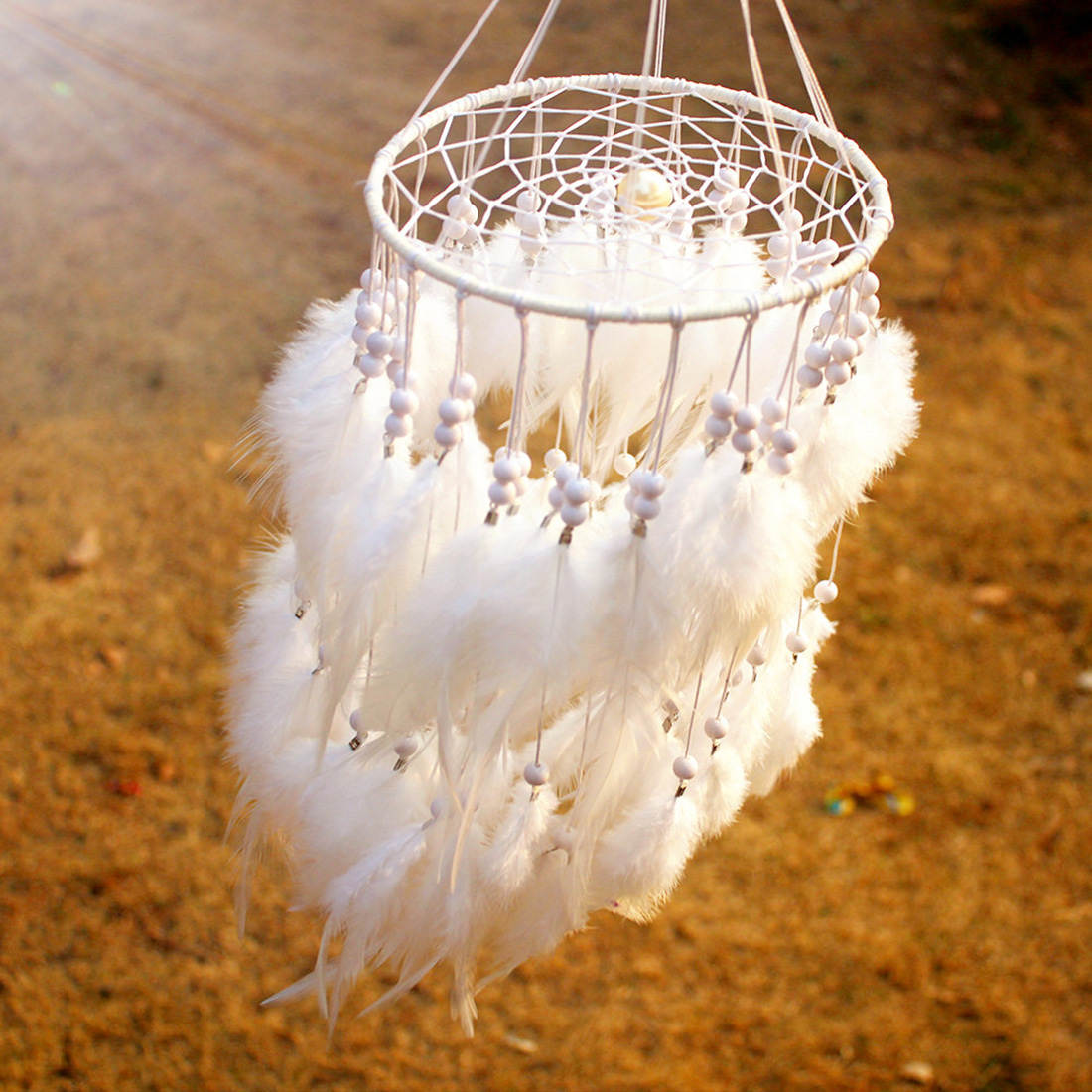 Nordic Style Dream Catcher Net with Feather Pearl Dreamcatcher Hanging Wind Chimes Indian Style Pendant Dream Catcher Craft Gift