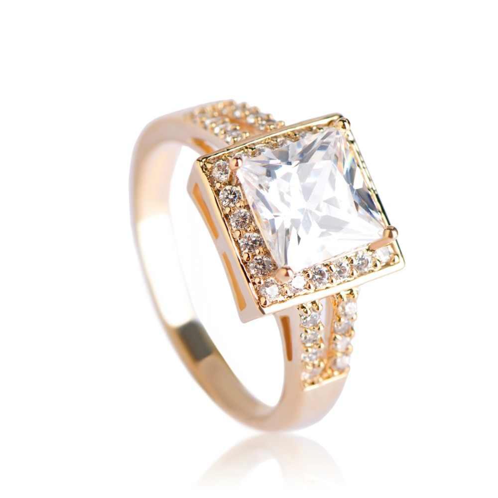 Dazz ทองแดง AAA CZ เจ้าหญิงตัดแหวนห้าสีผู้ชายแหวนหมั้นแหวนเครื่องประดับ Love Anillos Mujer