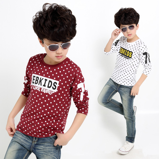 2016 Spring boy letter pattern dot long sleeve t-shirt  10&11 Age kids clothes  white&red&green&navy blue   teenage boy  clothes