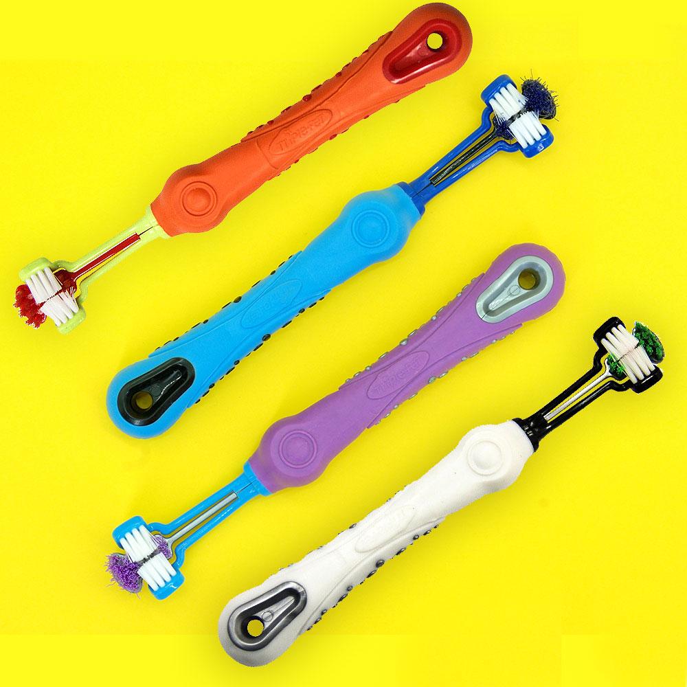 Dogs Three-Head Toothbrush   Doggie Stuff   Pet Accessories Supplies