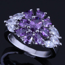 Pretty Flower Purple Cubic Zirconia White CZ 925 Sterling Silver Ring For Women V0638