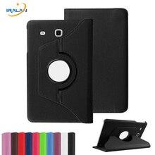2017 Nuevos Productos de Lujo 360 Giratoria Del Cuero Del Tirón Del Soporte de La Cubierta de la Tableta Case para Samsung Galaxy Tab caso E 9.6 T560 T561 + Stylus