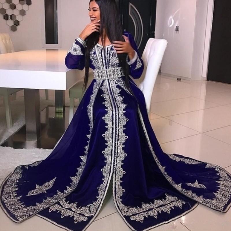 Arabia Long Sleeve Prom Dresses Crystal Beads Lace Applique Abaya Caftan Glamorous Dubai Satin Floor Length Evening Gown