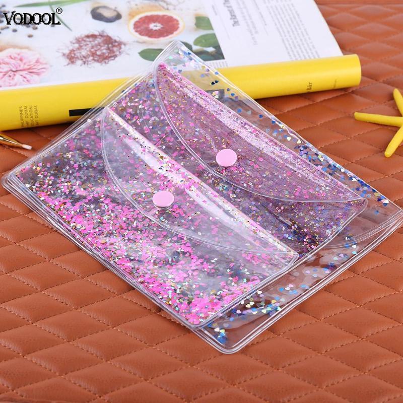 1pc Transparent PVC Pencilcase Sequins Filing Clear Holder File Bag New Waterproof Makeup Bag Storage Handbag School Stationery
