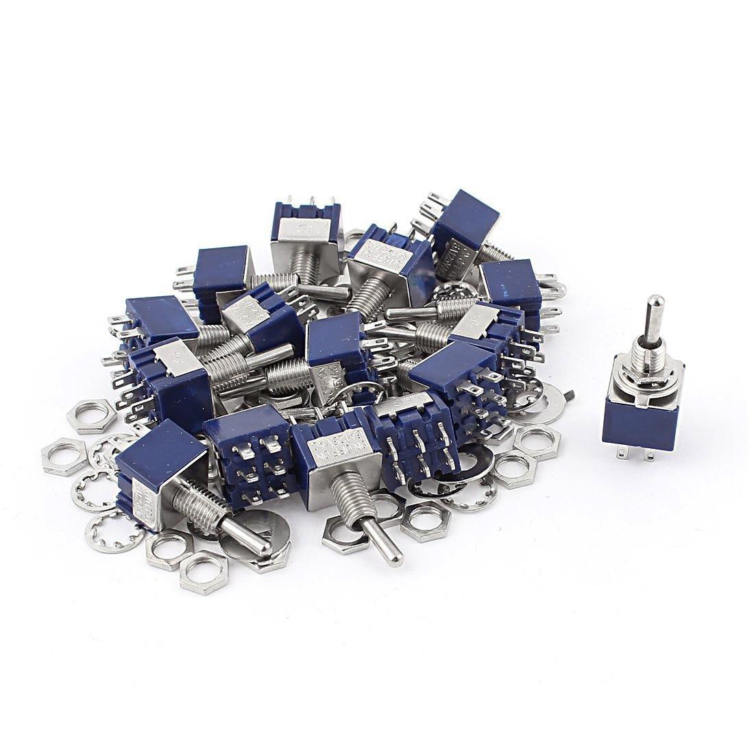 KSOL 20Pcs AC 125V 6A ON-OFF-ON DPDT Locking Mini Toggle Switch Blue 6mm