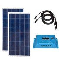 Комплект Solar Fotovoltaico 12 В 150 Вт 2 шт. Солнечный Системы 300 Вт Батарея Зарядное устройство солнечных ШИМ контроллер 12 В /24 В 10A кемпинг караван авто