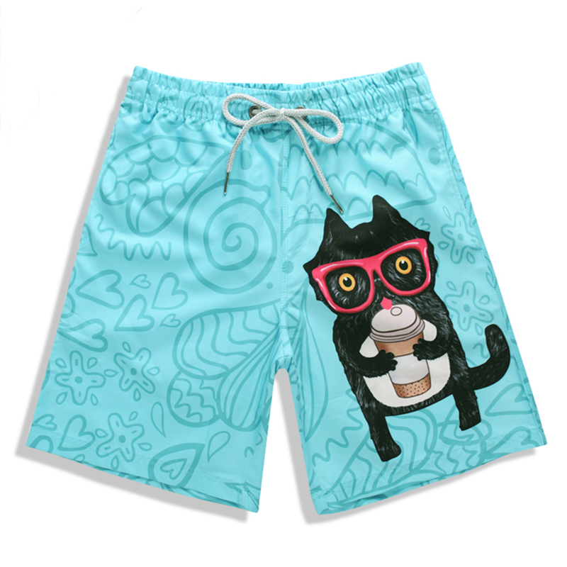 Men's Cute Cat Printed   Board     Shorts   Drifting   Short   Pants Man Beach   Shorts     Short   De Bain Homme Swimwear Men Bermudas Surf Pants