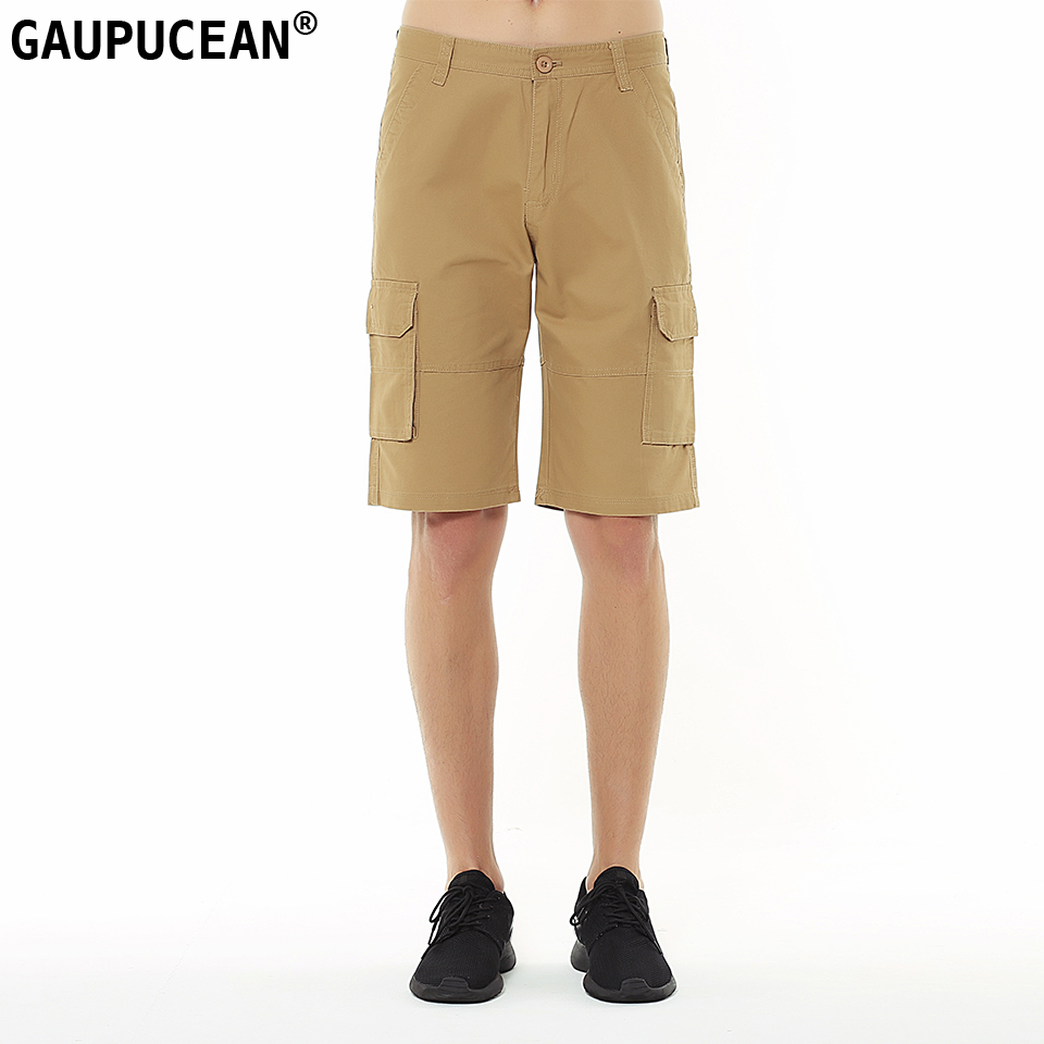 Gaupucean Cotton Knee Length Man Casual Chino Short Pants Solid Straight Summer Khaki Black Army Green Men Cargo Shorts