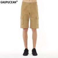 Gaupucean Katoen Knielengte Man Casual Chino Korte Broek Solid Straight Zomer Kaki Zwart Legergroen Mannen Cargo Shorts
