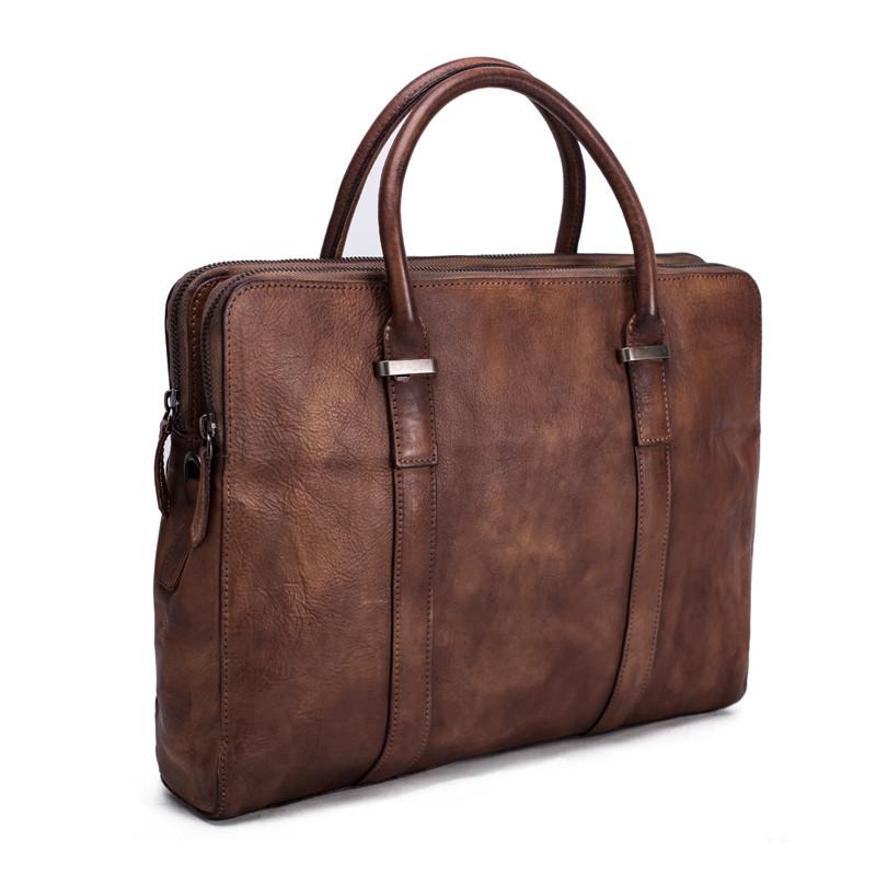 Vintage Vegetable Tanned Men Leather Briefcase Messenger Bag Laptop Bag 2