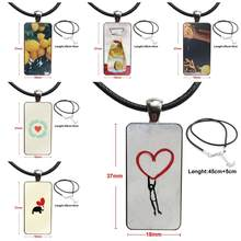 Heart Love Ultra-thin Scrub Fashion Glass Cabochon Pendant Rectangle Necklace Choker Necklace Jewelry For Women Party(China)