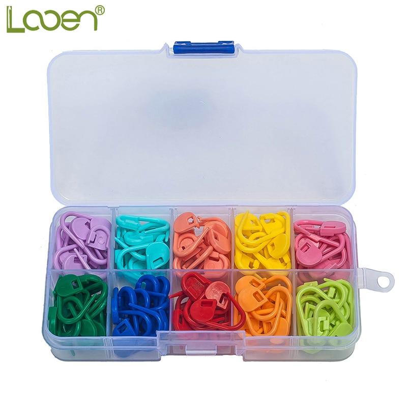 Looen Brand 120pcs / pack Høy kvalitet Mix Colors Mini Case Knitting Tilbehør Hekle Låsesting Plastmarkører