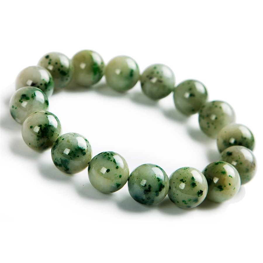 13.5mm Genuine Green Natural Dushan Jade Gemstone Stretch Big Round Crystal Bead Powerful Natural Stone Bracelet For Women Men13.5mm Genuine Green Natural Dushan Jade Gemstone Stretch Big Round Crystal Bead Powerful Natural Stone Bracelet For Women Men