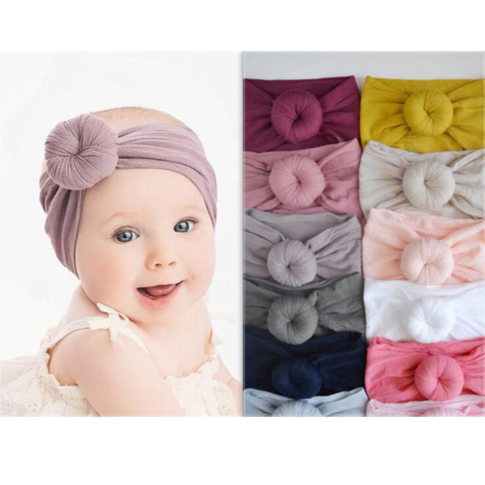 2018 New Baby Girls Round Knot Nylon Headbands High Elastic Wide Nylon Hairbands Baby Girls Turban Round Hair Accessories Preventing Hairs From Graying And Helpful To Retain Complexion