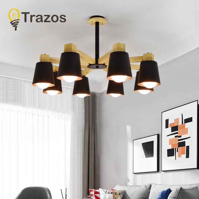 TRAZOS LED Chandelier For Living Room Wood Decorative Lustre E27 Chandelier Lighting With Matel Lampshades Kitchen Lights