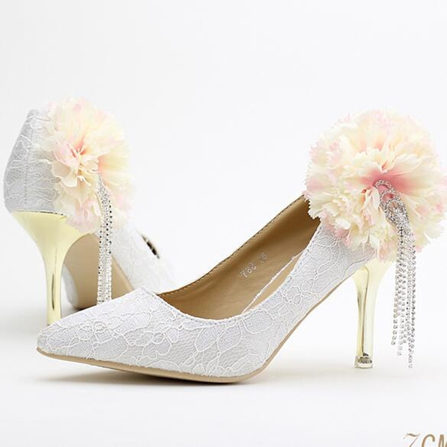 Women White Wedding Shoes 7cm High Heels Comfortable Tassel Diamond Bridal  Flowers Stiletto Pumps Elegant 236d9e1f7b54