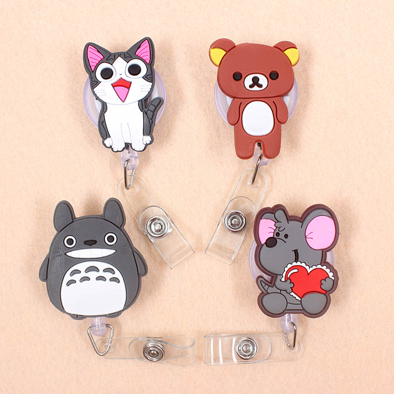 1pcs Totoro Elephant Retractable Badge Reel Student Nurse Horizontal Type Exhibition ID Name Card Badge Holder Office Supplies