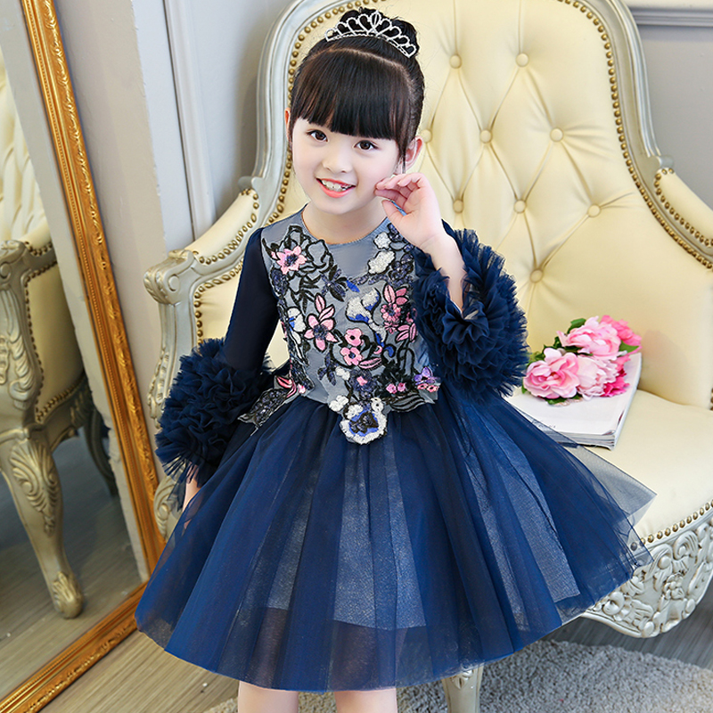 Princess Girls Dresses Ball Gown Costume Autumn Winter 2017 New Embroidery Evening Dress for girl Three Quarter Sleeve JF255Princess Girls Dresses Ball Gown Costume Autumn Winter 2017 New Embroidery Evening Dress for girl Three Quarter Sleeve JF255