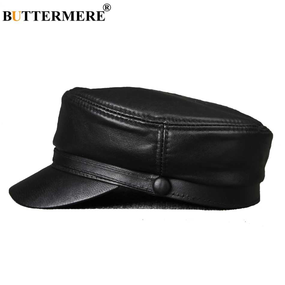 BUTTERMERE Leather Military Caps For Men Black Casual Flat Caps Army Women Genuine Leather Vintage Autumn Winter Military Hats