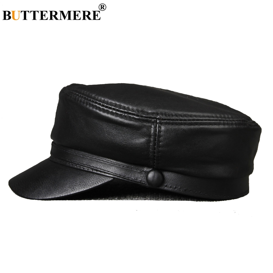 BUTTERMERE Leather Military Caps For Men Black Casual Flat Caps Army Women Genuine Leather Vintage Autumn Winter Military Hats leather