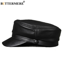 b47abb1c18041 BUTTERMERE For Men Black Casual Flat Caps Army Women Genuine Leather  Military Hats