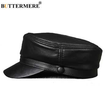 BUTTERMERE Leather Military Caps For Men Black Casual Flat Caps Army Women Genuine Leather Vintage Autumn Winter Military Hats - DISCOUNT ITEM  44% OFF All Category