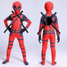 high quality superhero deadpool costume adult halloween costumes for kids child boys spandex zentai suit carnival