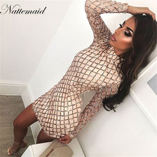 NATTEMAID Women Autumn Winter Dress Sexy Black long sleeve Dresses sequin Nightclub Wear Party Bodycon dress vestido de festa