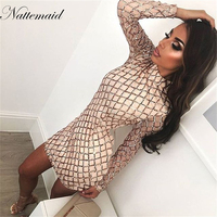 2016 Women Autumn Winter Dress Sexy Black Sheath Bodycon Bandage Dresses High Neck Back Zipper Nightclub