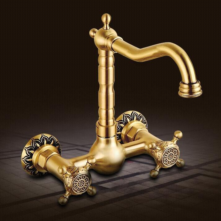Luxury Water Tap high quality brass wall mounted Kitchen faucet hot and cold antique carved kitchen sink basin faucet tap mixer high quality new kitchen faucet antique black brass hot and cold water mixer sink mixer tap wash basin faucet oil rubbed bronze