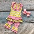 Verano de los bebés ropa de bebé girls boutique ropa stripe ruffle shorts niños top bib establece accesorios a juego
