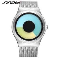 Sinobi esportes relógios para homens cinta de malha de aço inoxidável nova chegada impressionante choque de quartzo-relógio de genebra relógios de pulso para homens j76