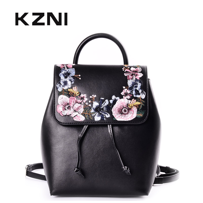 KZNI Genuine Leather Beautiful Embroidery Backpack for Girls Small Backpacks for Girls Women Small Bag Sac a Dos Femme 9030
