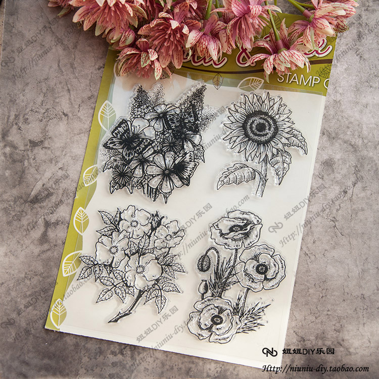 Flower Scrapbook DIY photo cards account rubber stamp clear stamp seal kid transparent silicone Handcrafted art gift stamps купить