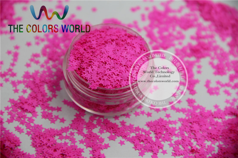Solvent resistant Sparkles-Neon Rose Carmine Color Stars-shaped Glitter Confetti for Nail Polish and DIY decoration 1Pack =50g dn2 39 mix 2 3mm solvent resistant neon diamond shape glitter for nail polish acrylic polish and diy supplies1pack 50g