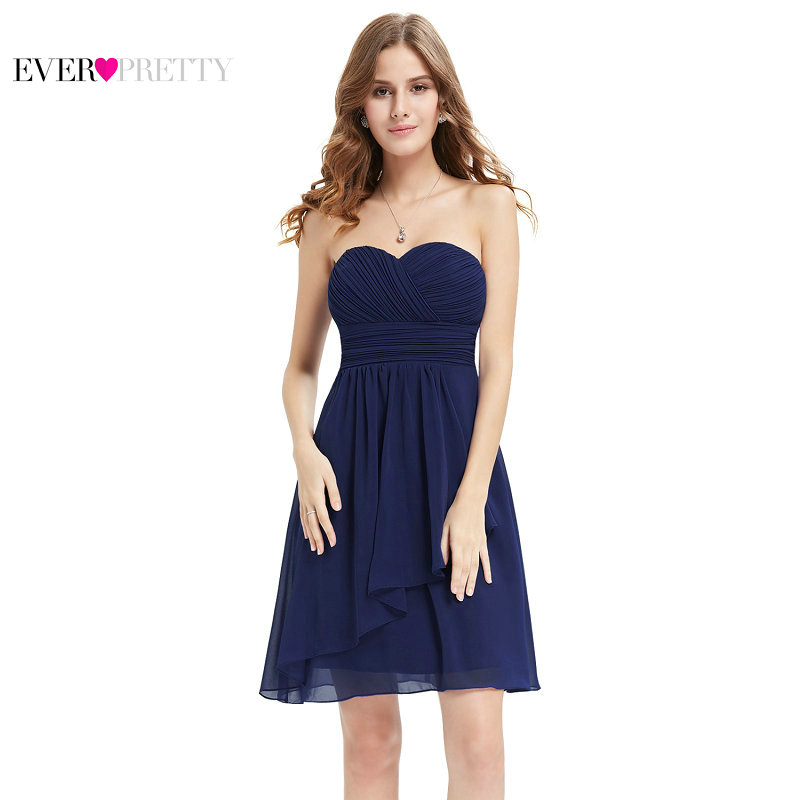 [Clearance Sale] Ever-Pretty Women Elegant Sexy   Bridesmaid     Dresses   A Line Chiffon Casual Solid Pleat Short Wedding Party   Dress