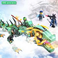 592pcs Movie Series Flying Mecha Ninjagoes Dragon Building Blocks Compatible Legoed Ninjagoings Bricks Figures Children Toys