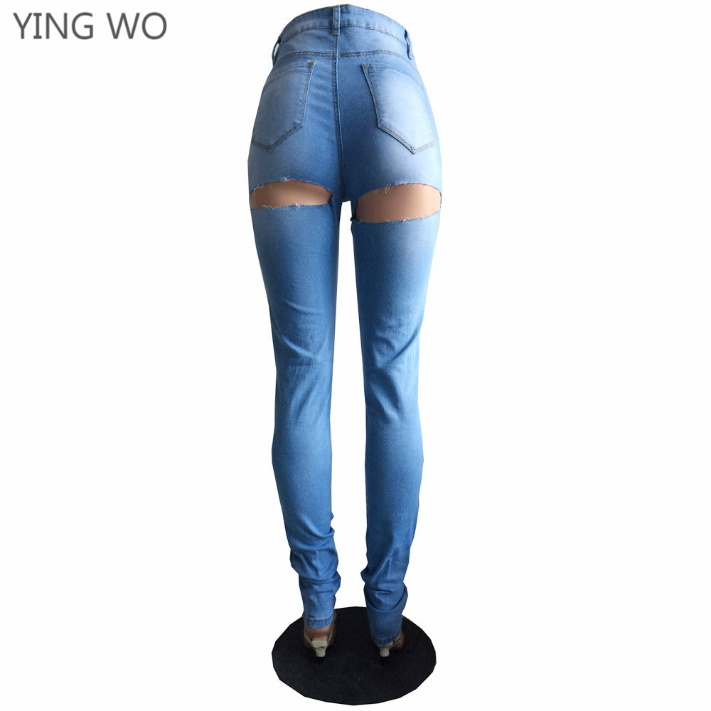 Aliexpress.com   Buy New Sexy Cut out Back Bottoms Washed Denim Pencil  Pants Plus Size Woman Vintage Style Bleached Butt Lifting Skinny Jeans S  3XL from ... 16b8bad37b57