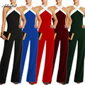 Adogirl Rompers Mulheres Jumpsuit Ombro Vazamento Outfits Mulheres Halter Backless Sexy Macacão Perna Larga Plus Size combinaison femme