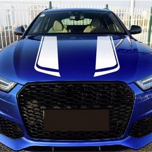 Image 2 - 1 par de pegatinas y calcomanías de coche de rayas de cubierta de motor deportivo, accesorios de vinilo para coches de carreras de Estilo Universal