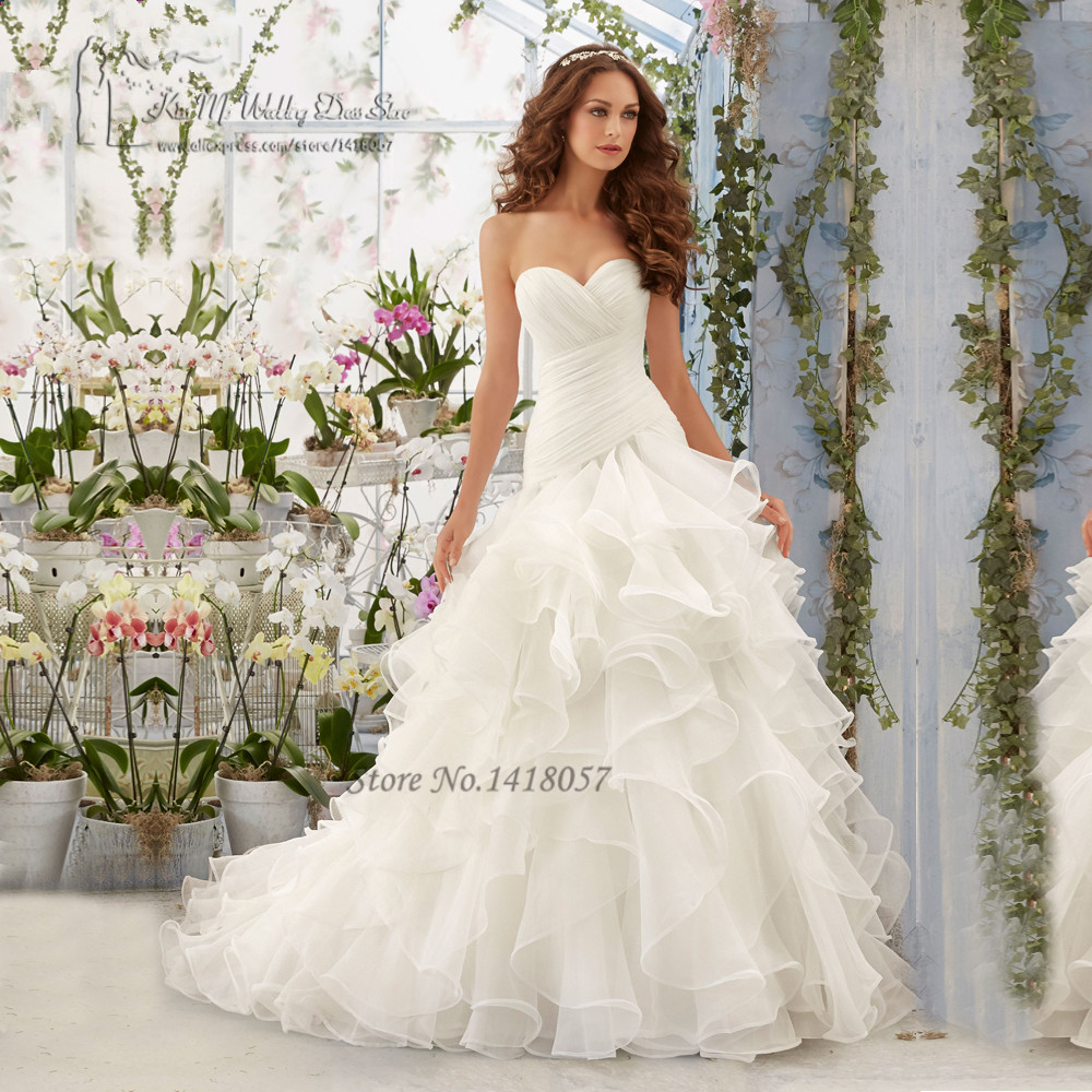 Wedding Gowns With Ruffles: Vintage Simple Plus Size Wedding Dress Ruffles Organza
