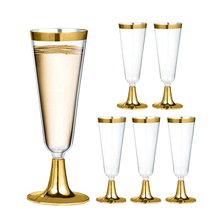 6pcs Disposable Plastic Wine Glass Champagne Flutes Glasses Cocktail Party Wedding Drink Cup Christmas Western Cuisine Cups B4